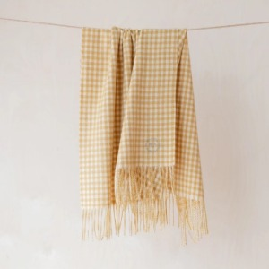 Pure Lambswool Kids Blanket (Mustard Gingham Check)